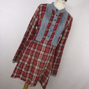 Artisan De Luxe Free People M Shirt Dress Plaid